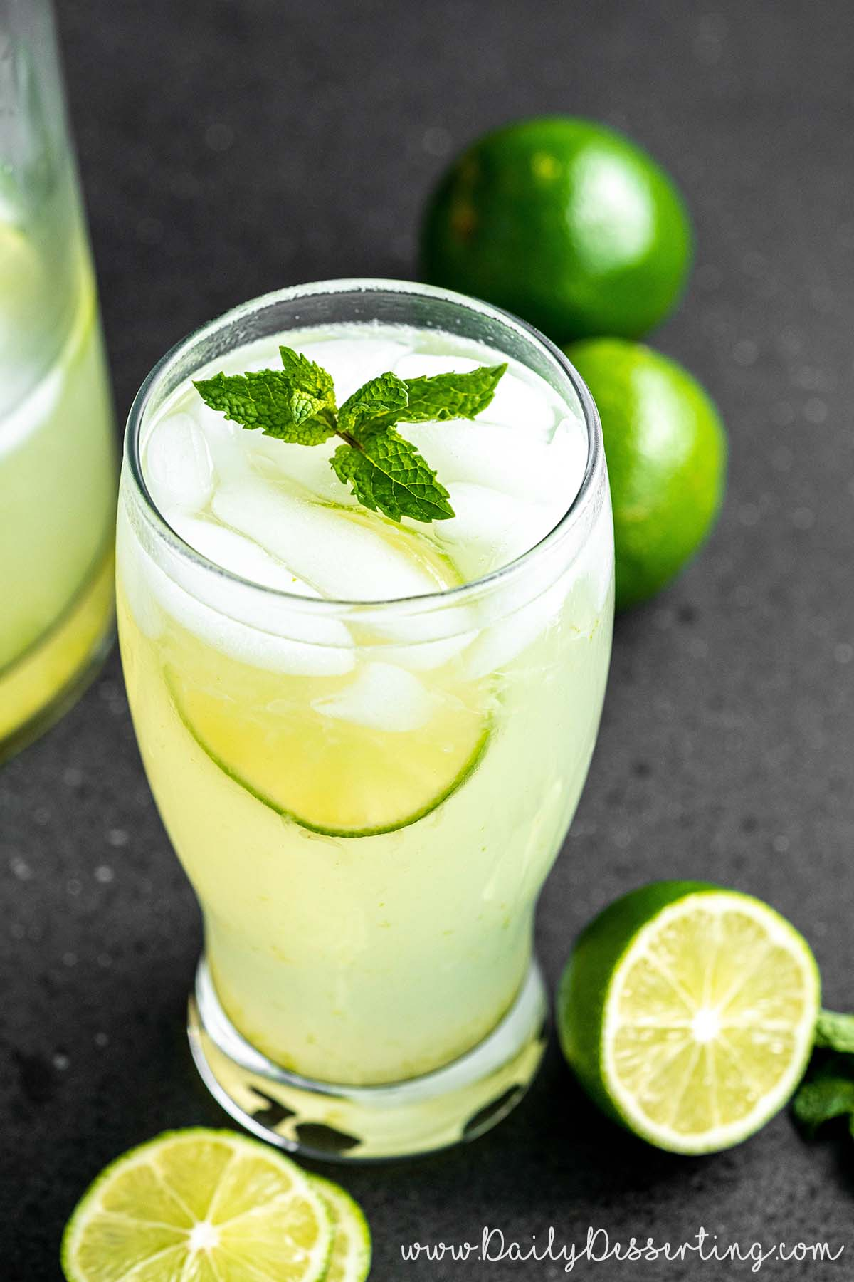 glass of limeade with mint