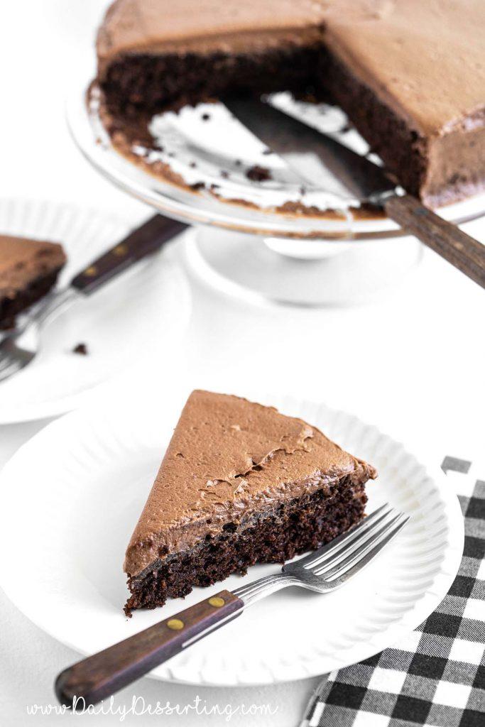 piece of chocolate mayo cake on white plate