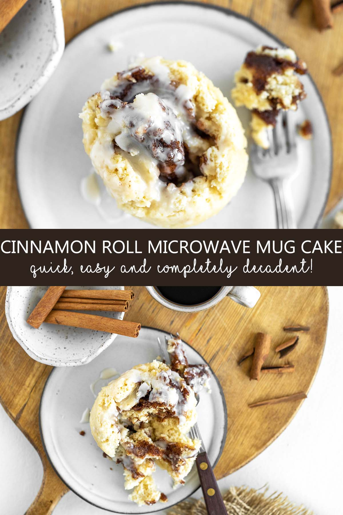 cinnamon roll microwave mug cake pin