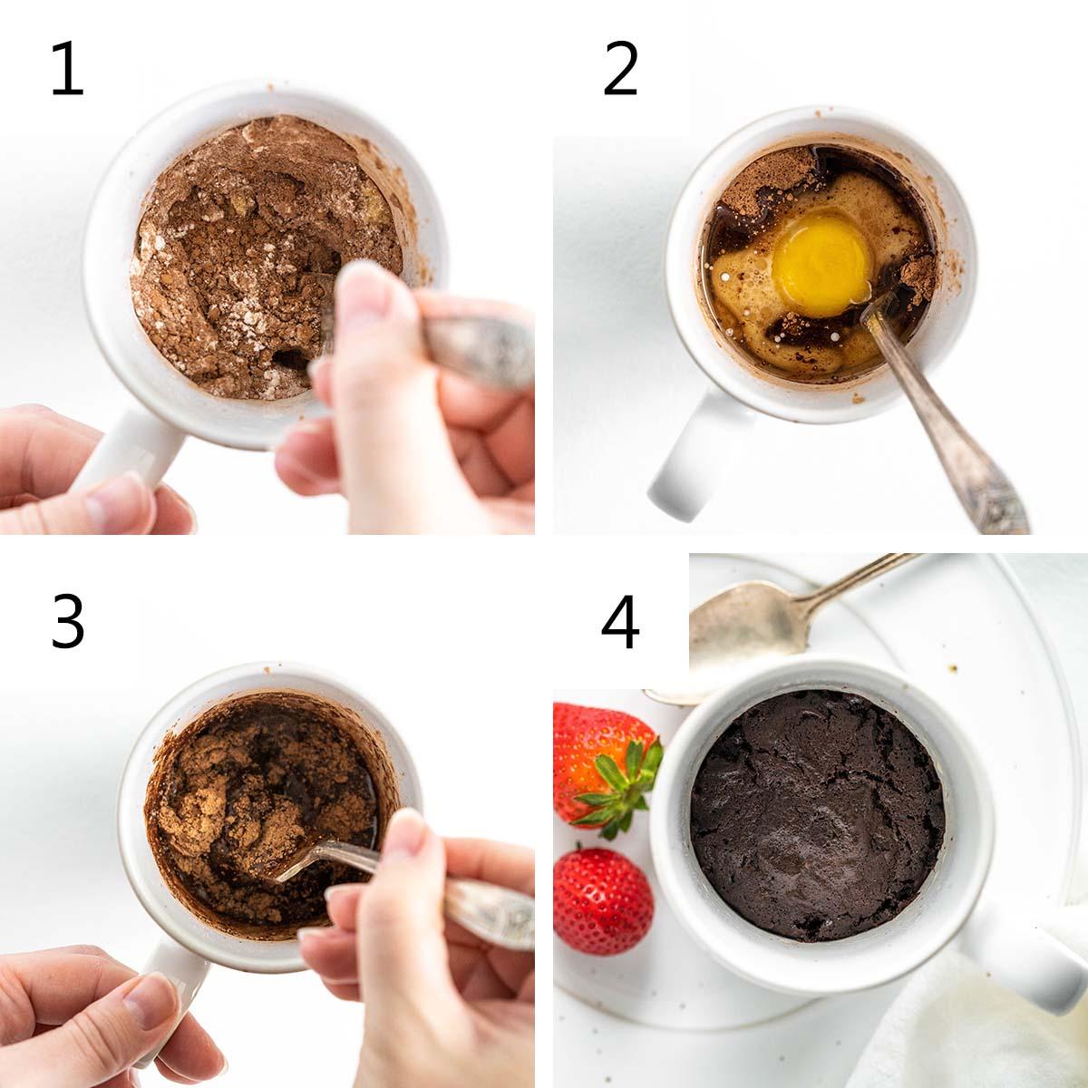 how to make a mug brownie recipe collage