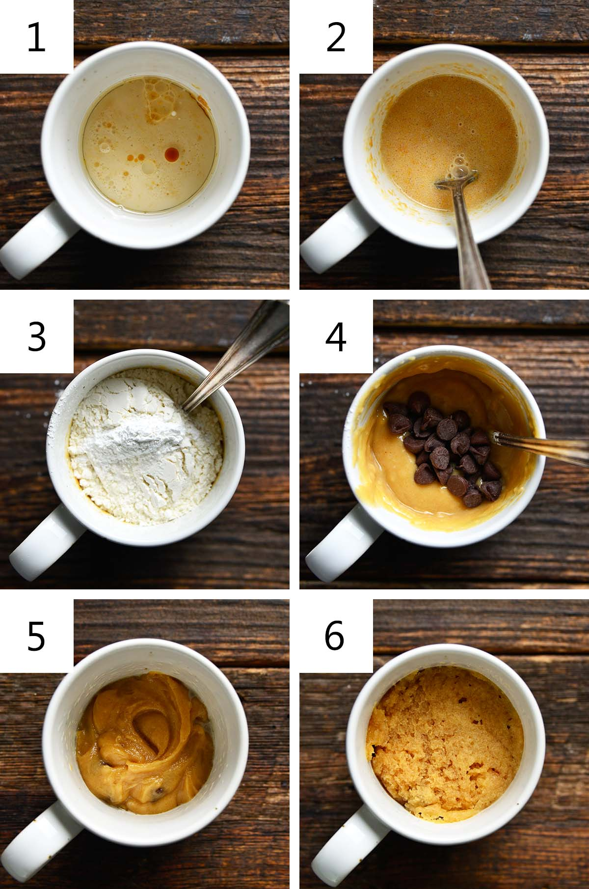how to make peanut butter mug cake collage