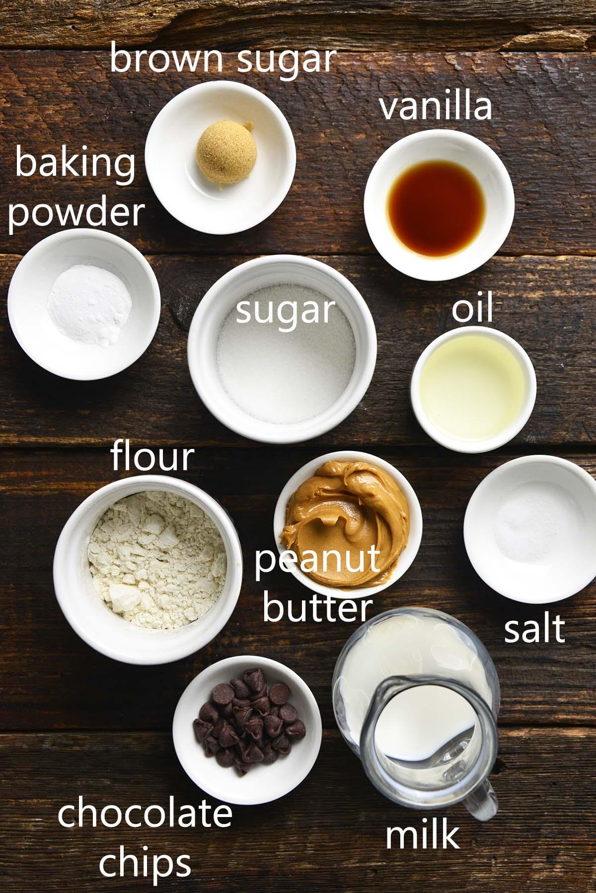 peanut butter chocolate mug cake ingredients