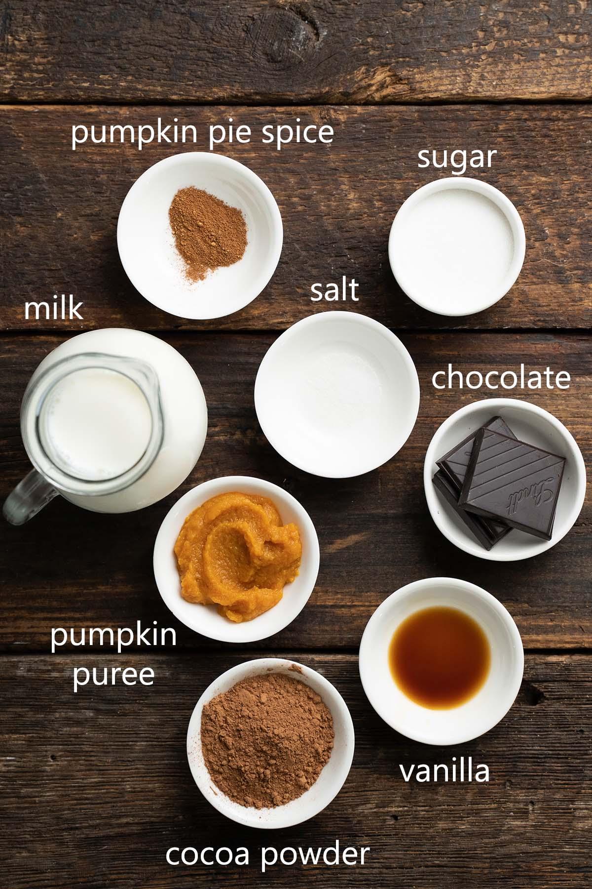 pumpkin spice hot chocolate ingredients