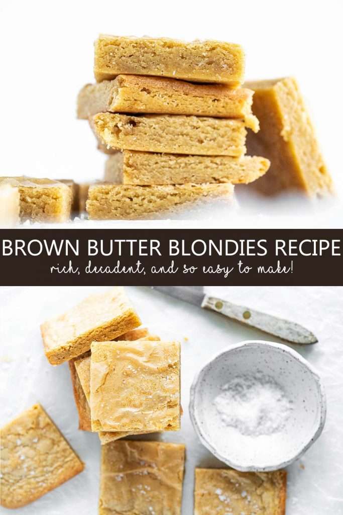 salted brown butter blondies pin