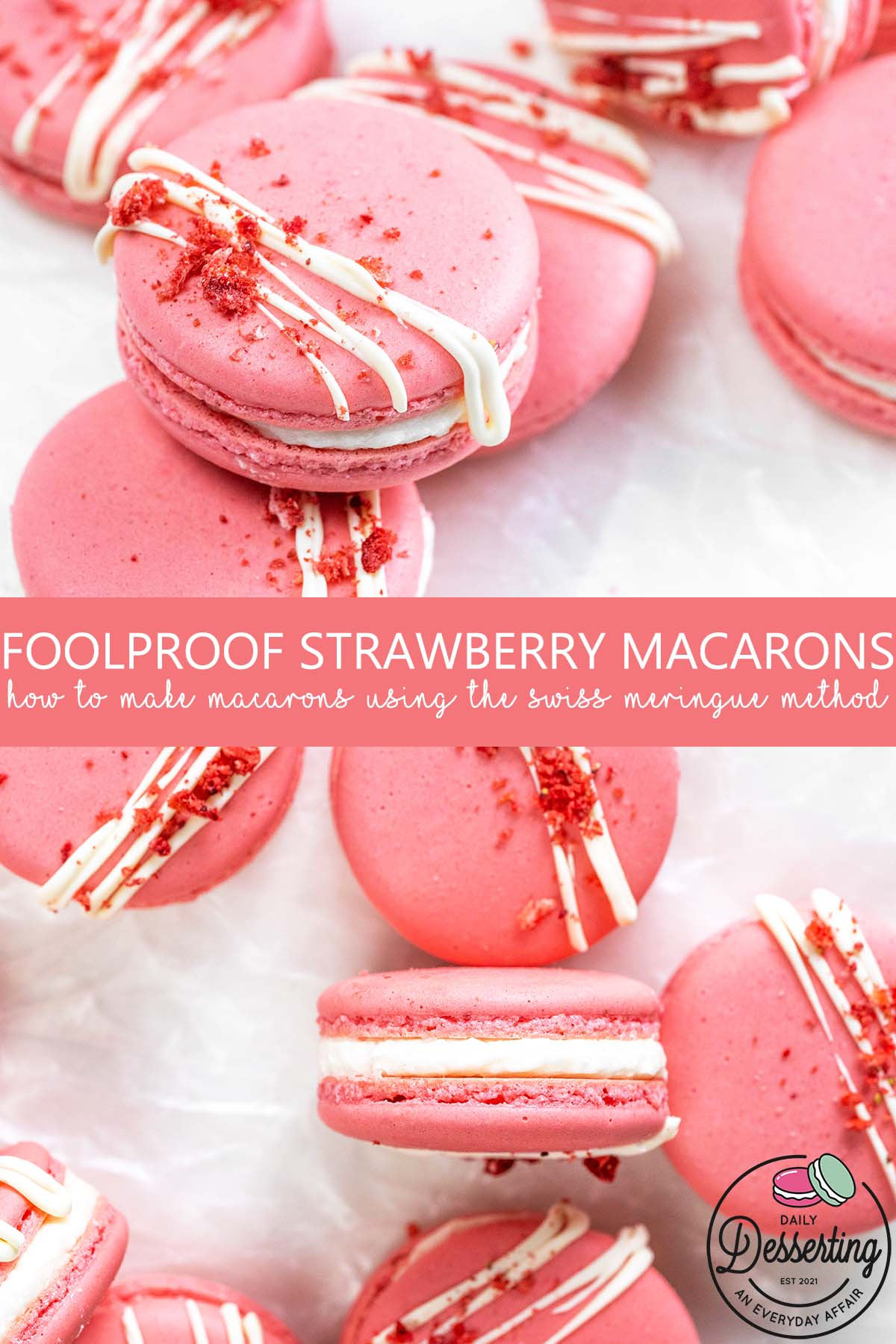 foolproof strawberry macarons recipe pin
