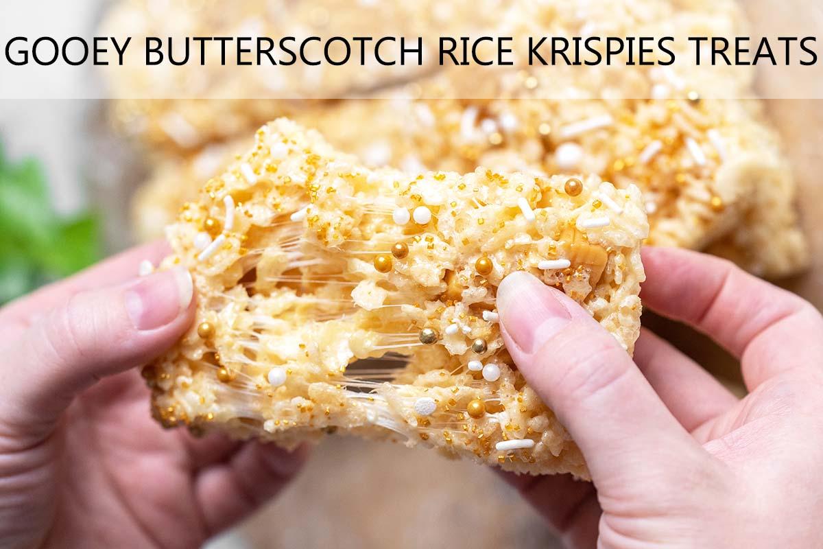 gooey butterbeer rice krispies treats recipe with description