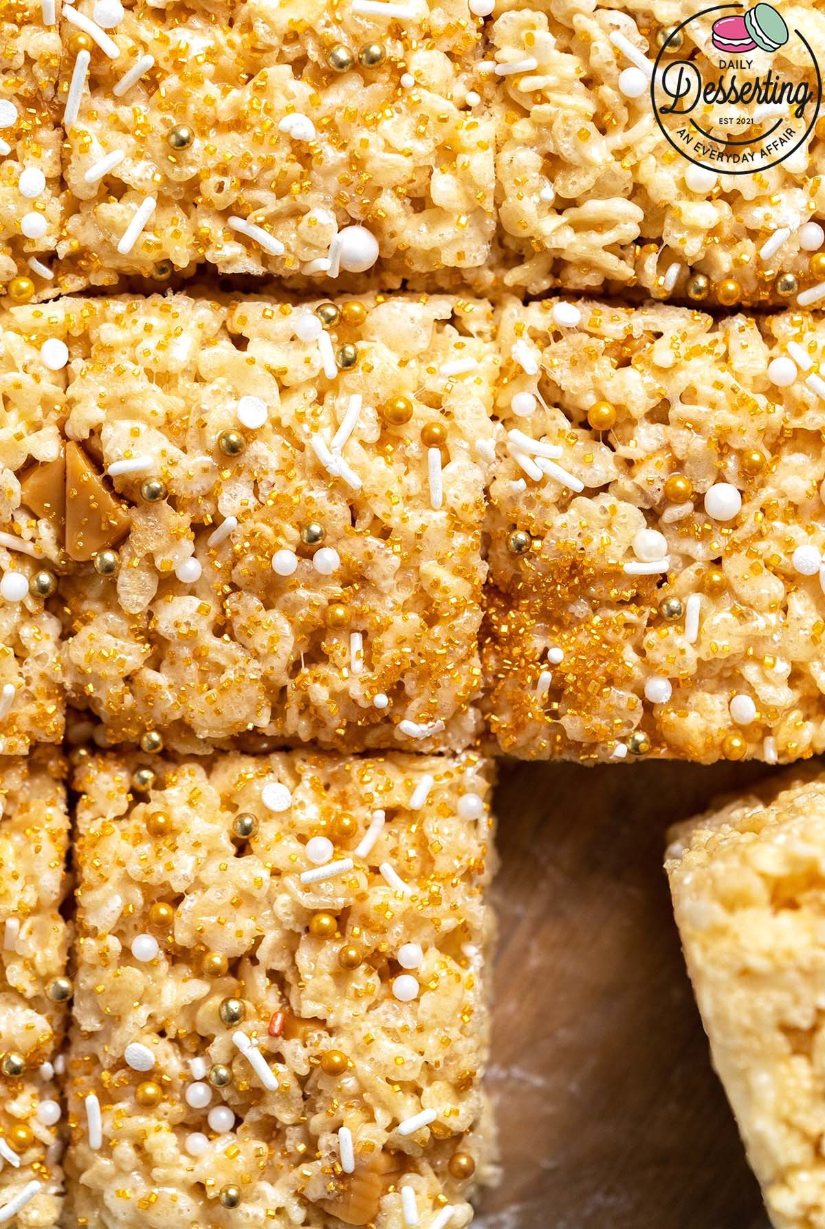 top view of vanilla butterscotch rice krispy treats